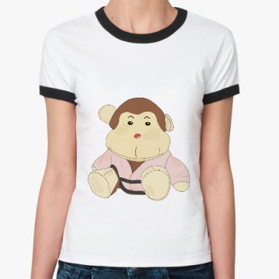 Женская футболка Ringer-T обезьяна-каратист