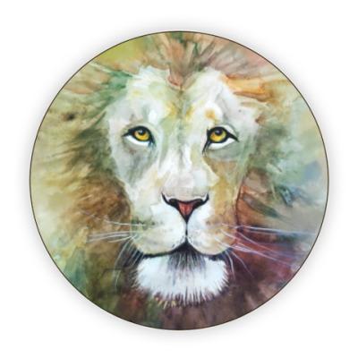 Костер (подставка под кружку) Лев, акварель