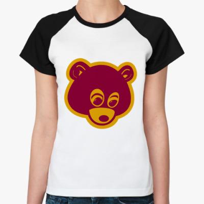 Женская футболка реглан Kanye  Ж (бел/чёрн)