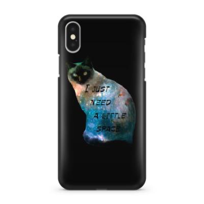 Чехол для iPhone X Котик космический
