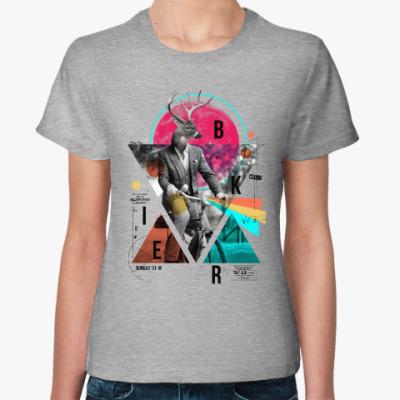 Женская футболка Олень на велосипеде