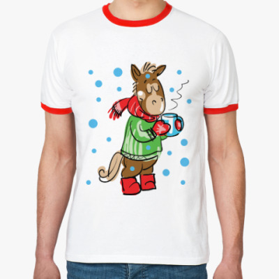 Футболка Ringer-T Новогодняя лошадь с чаем
