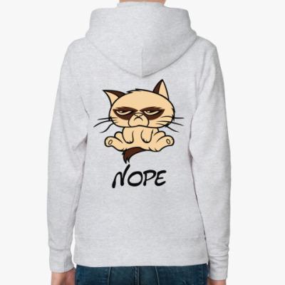 Женская толстовка худи Недовольный кот ( Grumpy cat )