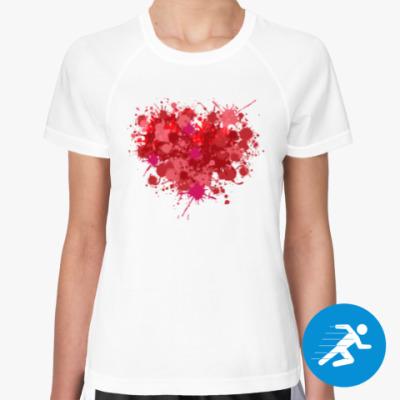 Женская спортивная футболка Сердце из брызг краски