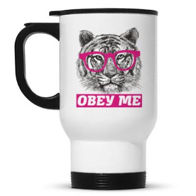 Кружка-термос Obey. Кот. Кошка. Cat. Kitty.
