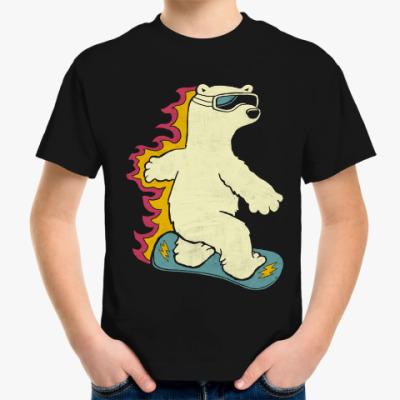 Детская футболка Медведь сноубордист