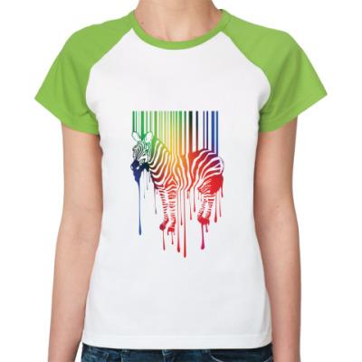 Женская футболка реглан Цветная зебра