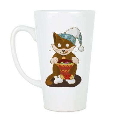 Чашка Латте Новогодний котенок