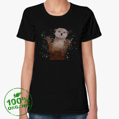 Женская футболка из органик-хлопка Выдра и брызги