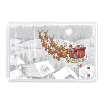 Магнит Дед мороз на оленях