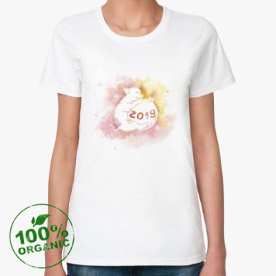 Женская футболка из органик-хлопка Новогодняя свинка 2019