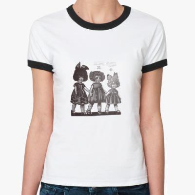 Женская футболка Ringer-T  Retro Dolls