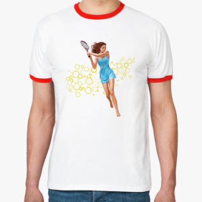 Футболка Ringer-T Девушка с теннисной ракеткой