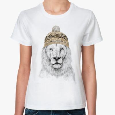Классическая футболка Лев в шапке