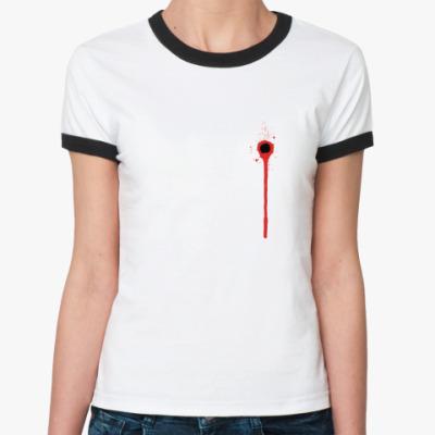 Женская футболка Ringer-T Рана в Сердце!