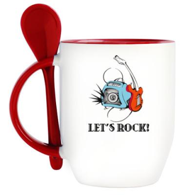 Кружка с ложкой Let's Rock!