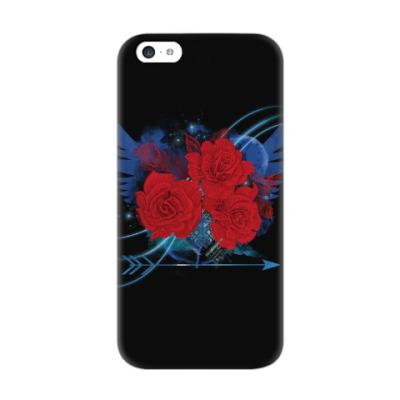 Чехол для iPhone 5c Красные розы и крылья