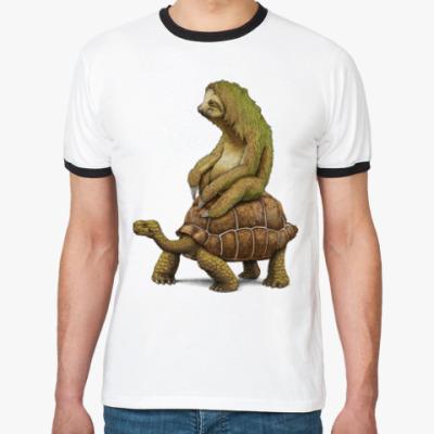 Футболка Ringer-T Ленивец на черепахе