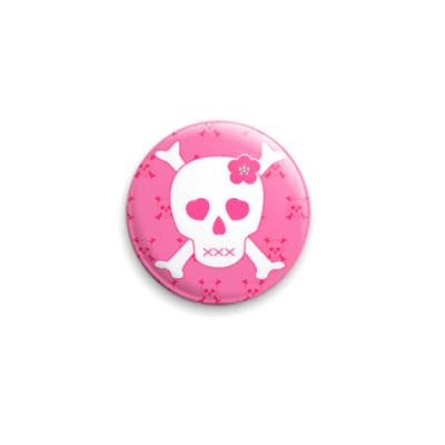 Значок 25мм  'Розовый череп'