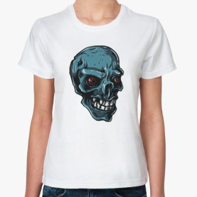 Классическая футболка Череп скелет зомби монстр