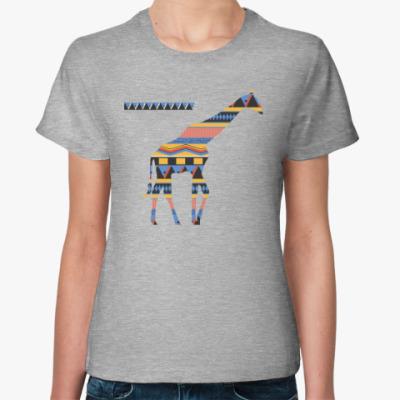 Женская футболка Этнический жираф