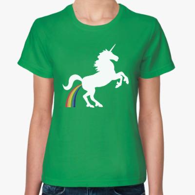 Женская футболка Единорог и радуга