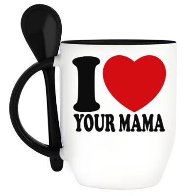 Кружка с ложкой Люблю твою маму