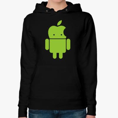 Женская толстовка худи Андроид голова-яблоко