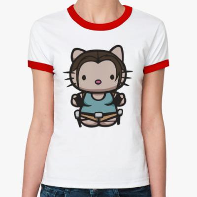 Женская футболка Ringer-T Kitty Лара Крофт