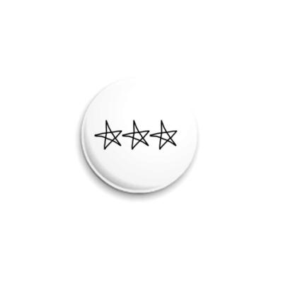 Значок 25мм  25 мм, 3 stars white