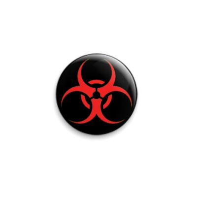 Значок 25мм Biohazard красно-чёрный