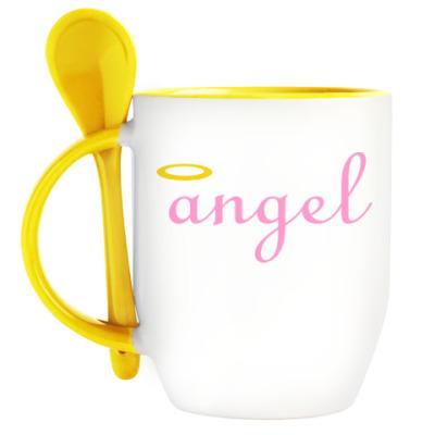 Кружка с ложкой Ангел