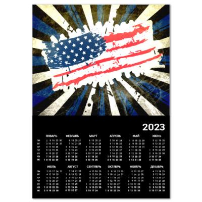 Календарь Американский флаг. Гранж.