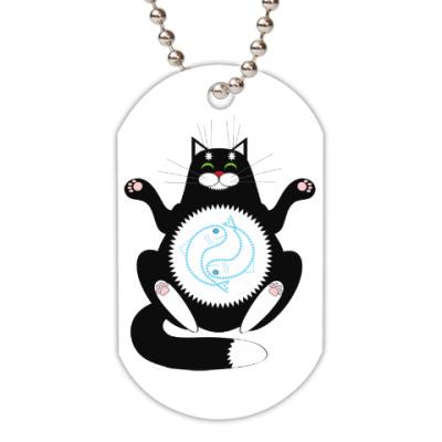 Жетон dog-tag медитация сытого кота