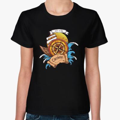 Женская футболка Море. Пират.