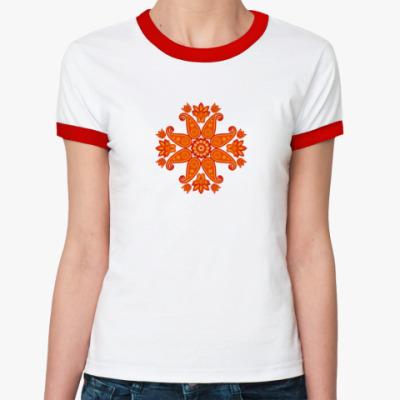 Женская футболка Ringer-T Восточный цветок