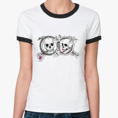 Женская футболка Ringer-T Любовь до гроба