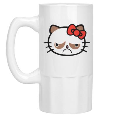 Пивная кружка Hello Grumpy Cat