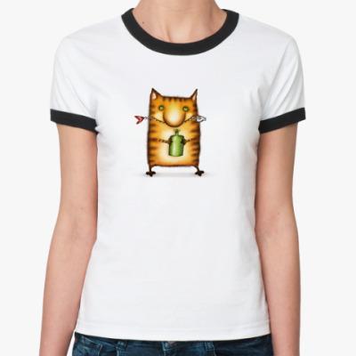 Женская футболка Ringer-T  ж Кот с бутылкой