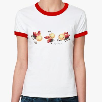 Женская футболка Ringer-T  женская с Коровками