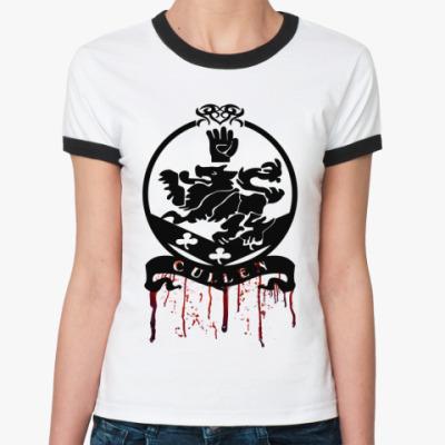 Женская футболка Ringer-T Bloody Cullen emblem