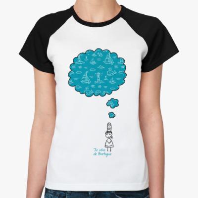 Женская футболка реглан Мечтаю о Бретани