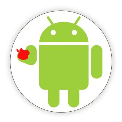 Костер (подставка под кружку) Андроид с яблоком