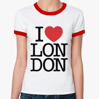 Женская футболка Ringer-T I love Лондон