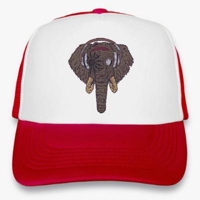 Кепка-тракер Слон в наушниках