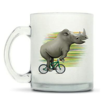 Кружка матовая Носорог на велосипеде