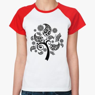 Женская футболка реглан дерево