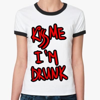 Женская футболка Ringer-T Поцелуй меня