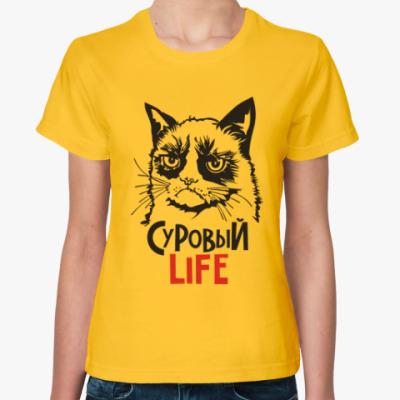 Женская футболка Злой и сердитый кот. Angry cat