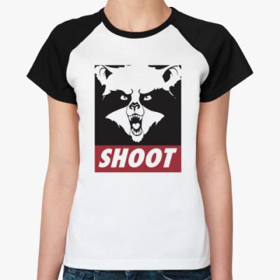 Женская футболка реглан Raccoon Shoot